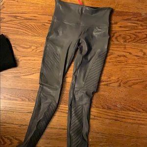 Gray Spanx faux leather moto leggings
